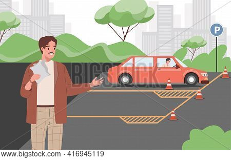 Car Instructor Teaching Young Man To Drive A Car During Driving Lessons Vector Flat Illustration. Dr