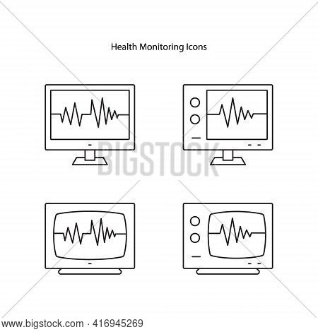 Health Monitoring Line Icon. Telehealth Medical Care. Virtual Medical Consultation. Telemedicine, He