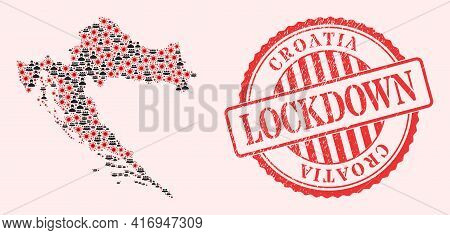 Vector Collage Croatia Map Of Covid-2019 Virus, Masked Men And Red Grunge Lockdown Seal. Virus Parti