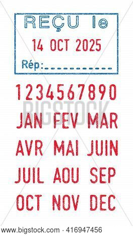Vector Illustration Of The French Word Recu (received) In Blue Ink Stamp And Editable French Dates (