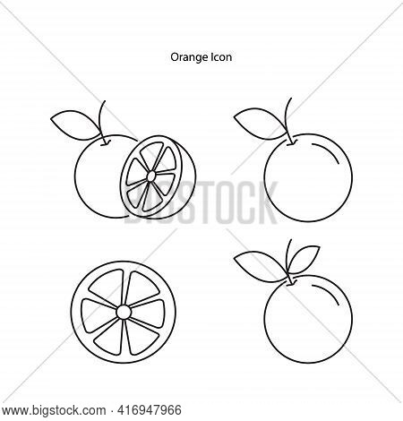 Orange Icon Set Isolated On White Background. Orange Icon Thin Line Outline Linear Orange Symbol For