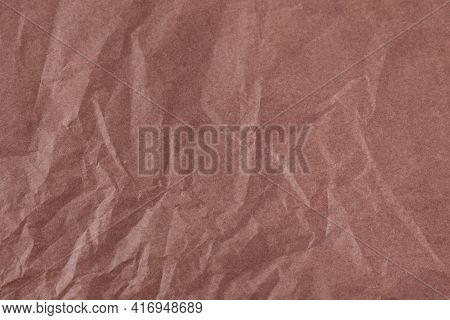 Brown Color Creased Paper Tissue Background Texture, Wrinkled Tissue Paper Texture