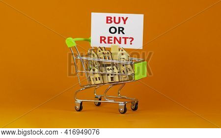 Buy Or Rent Real Estate Symbol. Miniature Shopping Cart With Wooden Houses, Words Buy Or Rent. Beaut