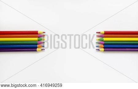 Lgbt Symbol. Pencils Lie On Top Bright Social Colors Lgbt. Lgbt Colors Corrugated Cardboard Flag. Co