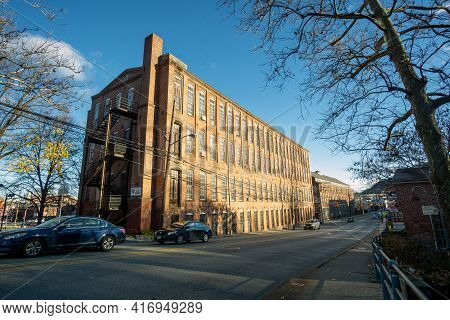 Paterson, Nj - Usa - Dec. 6, 2020: Landscape View Old Red Brick Factory Buildings That Made Up Pater