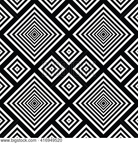 Abstract Seamless Geometric Checked Pattern. Vector Art.