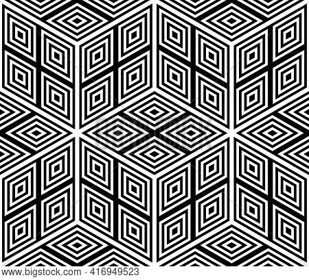 Seamless Geometric Hexagons And Diamonds Op Art Pattern With 3d Illusion Effect. Vector Illustration