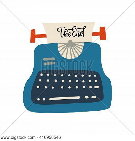 The End Lettering Concept. Phrase On Sheet Of Paper In Vintage Typewriter. Flat Vector Hand Drawn Il