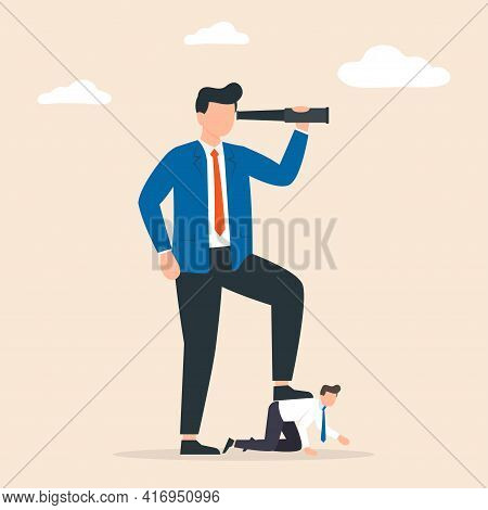 Business Concept Of Giant Foot Trampling A Businessman. Concept Of Power. Bad Boss In The Workplace.