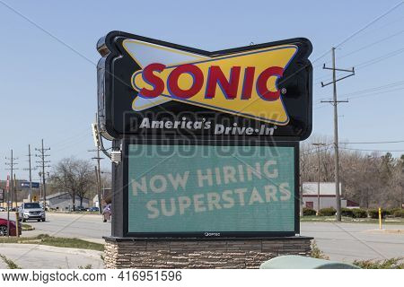 Michigan City - Circa April 2021: Sonic Drive-in Fast Food Location. Sonic Is A Drive-in Restaurant