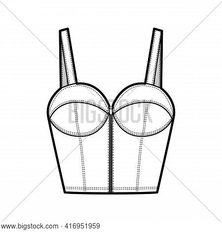 Denim Bustier Top Technical Fashion Illustration With Thin Straps, Zip-up Closure, Cups, Slim Fit, W