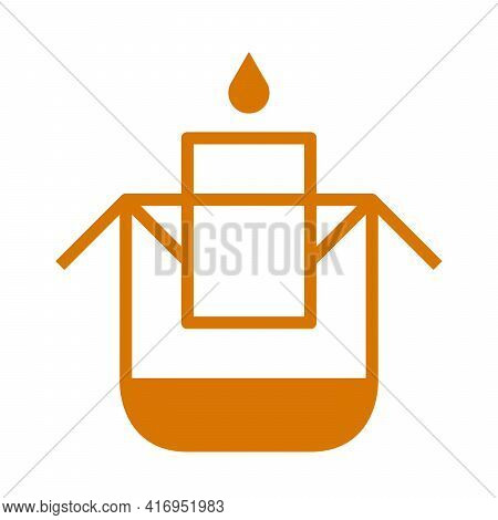 Drip Bag Coffee On Cup With Drop Of Water Icon. Pour Hot Water Into The Bag. Paper Dripping Bag On A