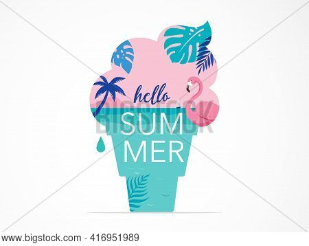 Summer Time Fun Concept Design. Creative Background Of Landscape, Panorama Of Sea And Beach On Ice C