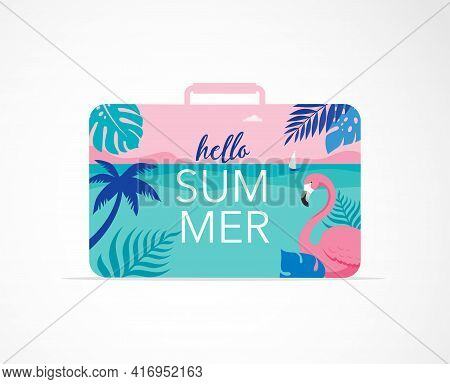 Summer Time Fun Concept Design. Creative Background Of Landscape, Panorama Of Sea And Beach On Suitc