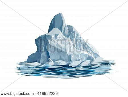 Iceberg From A Splash Of Watercolor, Colored Drawing, Realistic. Vector Illustration Of Paints