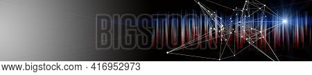 Futuristic Plexus Panorama Background Design Illustration With Stripes And Light