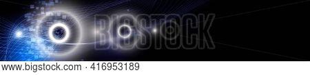 Futuristic Wave Panorama Background Design Illustration With Lights