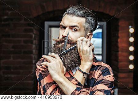 Bearded Man With Scissors. Barber Scissors And Straight Razor, Barber Shop, Suit. Vintage Barber Sho