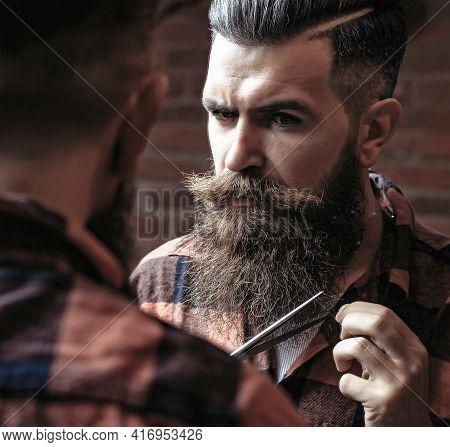 Man Hipster Cutting Beard. Barber Scissors And Straight Razor, Barber Shop, Suit. Vintage Barber Sho
