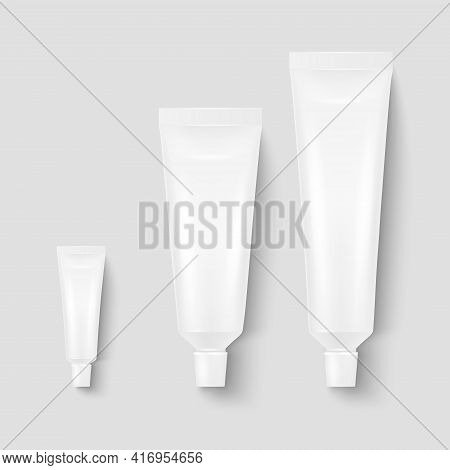Vector 3d Realistic Plastic, Metal White Tooth Paste, Cream Tube, Packing Set Isolated On White Back