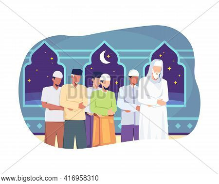 People Tarawih Prayer In Congregation