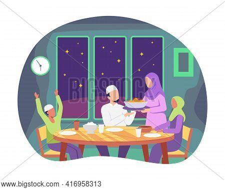 Muslim Family Eating Ramadan Iftar Together