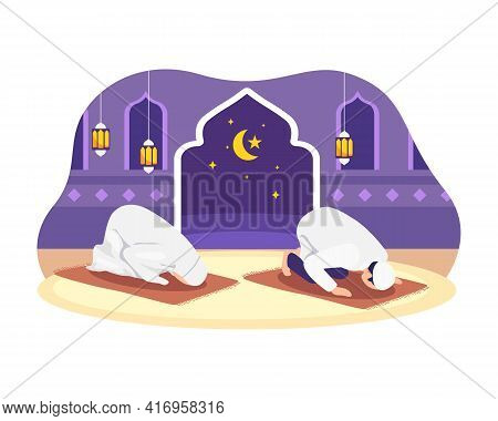 Muslim Man And His Wife Doing Prayer Together