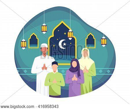 Happy Eid Mubarak Illustration Greeting Card