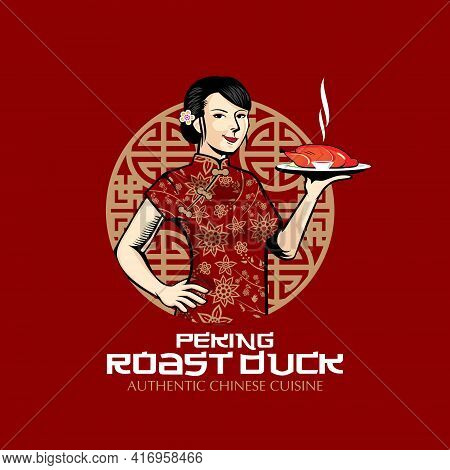 Chinese Lady And Roast Duck  Vector Illustration