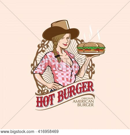 Cowgirl With Burger, Food Logo Theme. Vector Illustration