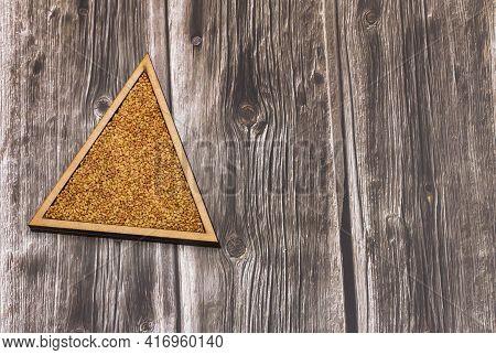 Alfalfa Seeds In The Triangular Bowl - Medicago Sativa