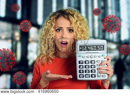 Shocked Expression Of A Woman Who Is Scared To Increase Of Coronavirus Contagion.