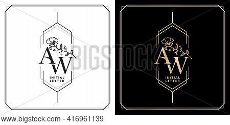 Aw Or Wa Initial Letter And Graphic Name, Aw Or Wa Monogram, For Wedding Couple Logo Monogram, Logo