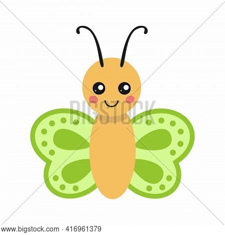 Cute Butterfly In Cartoon Style. A Butterfly Drawing For A Children's Book.