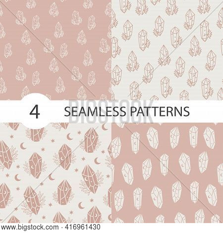 Magic And Celestial Seamless Pattern Set With Magical Crystal. Trendy Witchcraft Symbol On Beige And