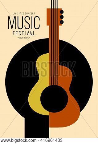 Music Poster Design Template Background Decorative With Geometric Shape Of Guitar. Design Element Te