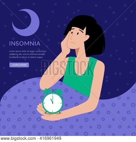 Insomnia. The Woman Cannot Sleep. Female Character Suffers From Insomnia. Sleep Disorder, Sleeplessn