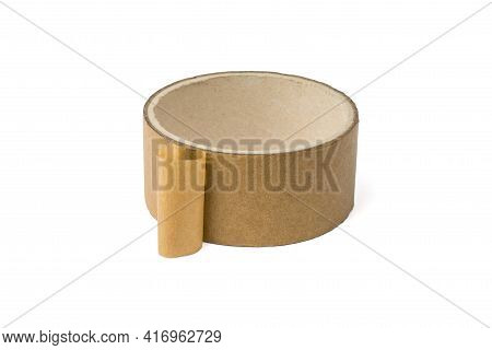 Roll Of Adhesive Tape For Repair And Packaging Insulated On A White Background. Universal Packaging