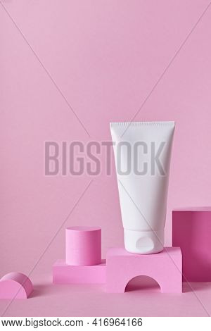 Beauty Natural Skincare Product Mock Up. Cream Tube On Different Geometric Podiums. Body Skincare Pr