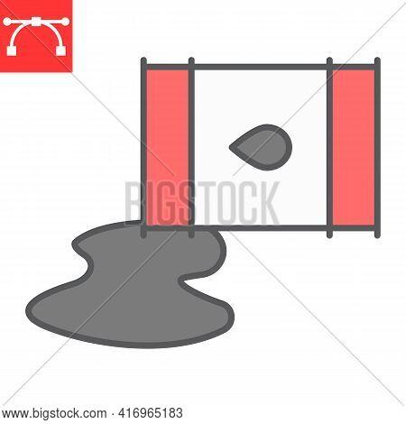 Oil Spill Color Line Icon, Spilled Oil And Fuel, Oil Barrel Leak Vector Icon, Vector Graphics, Edita