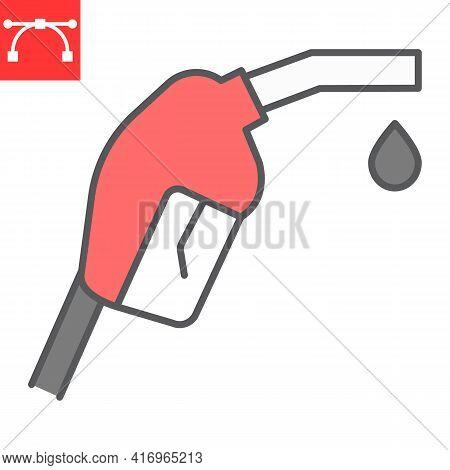 Gasoline Pump Nozzle Color Line Icon, Diesel And Gas Station, Fuel Pump Nozzle Vector Icon, Vector G