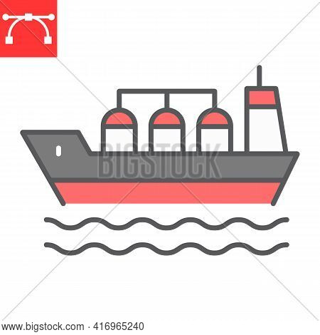 Oil Tanker Ship Color Line Icon, Fuel Shipping And Logistics, Cargo Ship Vector Icon, Vector Graphic