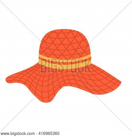 Womens Hat With A Wide Brim. Summer Headdress. A Wide-brimmed Hat. Vector Illustration In A Flat Car