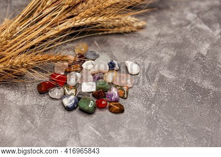 Composition Of Esoteric Objects, Used For Healing And Fortune-telling. Row Of Multicoloured Healing