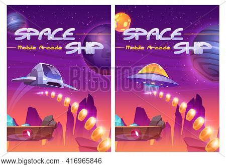 Mobile Arcade With Space Ship, Interstellar Shuttle Collect Golden Coins On Alien Planet With Flying