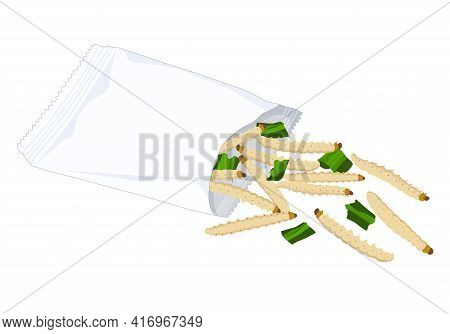 Bamboo Worm Caterpillar Insects For Eat As Food Deep-fried Crispy Snack With Vegetable In A Foil Wra