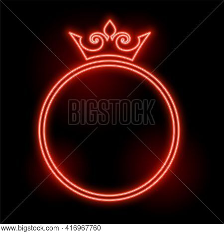 Neon Style Crown Frame With Text Space Design
