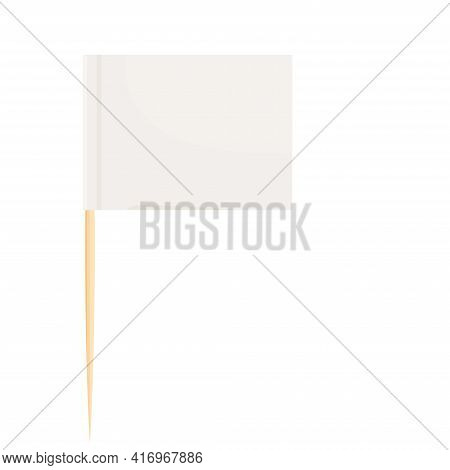 Toothpick Flag Wooden Miniature In Cartoon Flat Style Isolated On White Background, Toothpick Flag R