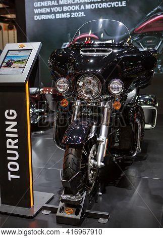 Bangkok, Thailand - April 4, 2021: Harley Davidson Touring Ultra Limited Exhibited In Bangkok Intern