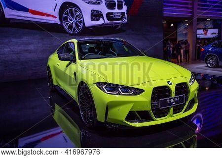 Bangkok, Thailand - April 4, 2021: Bmw M4 Competition Coupe Exhibited In Bangkok International Motor